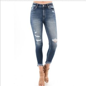 Distressed frayhem high waist denim jeans